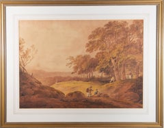 Fine Early 19th Century Watercolour - Panoramic Landscape with Figures