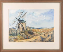 D. M. Barford- Signed & Framed Mid 20th Century Watercolour, Portuguese Windmill