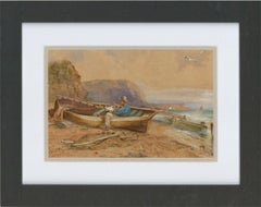 Framed Late 19th Century Watercolour - Waiting for the Tide