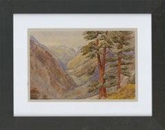 Framed Late 19th Century Watercolour - Visp Valley, Switzerland