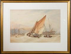 A.H. - 1885 Watercolour, Boats at Sea
