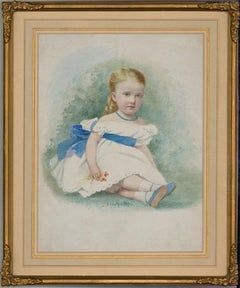 Framed Late 19th Century Watercolour - Victorian Child