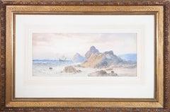 Signed & Framed c.1890 Watercolour - Sailors at Dawn