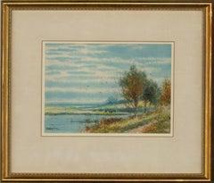 Abraham Hulk Junior (1851-1922) - Watercolour, Cattle in a Water Meadow