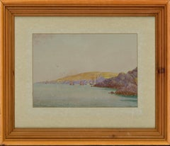 Charles Ripper - 1919 Watercolour, Sea View with Boats