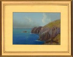 H. Wright - Signed & Framed Mid 20th Century Gouache, Coastal Scene