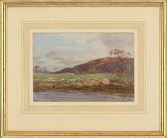 James Aumonier (1832–1911) - 1877 Watercolour, Sheep Grazing By The River