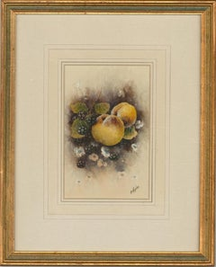 Christopher Hughes - 20th Century Watercolour, Peaches and Blackberries