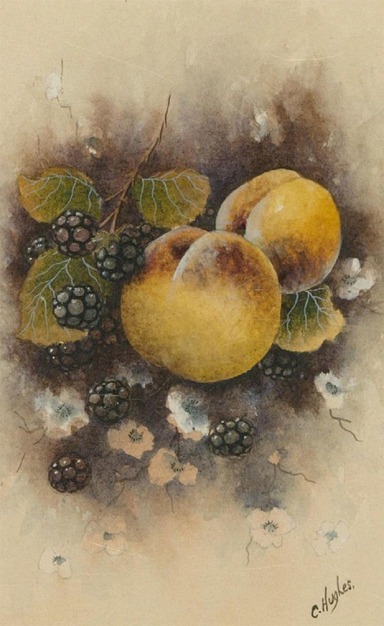A fine watercolour painting with gouache details by the British artist Christopher Hughes, depicting a still life of peaches and blackberries. Signed to the lower right-hand corner. Well-presented in a washline card mount and in a distressed gilt