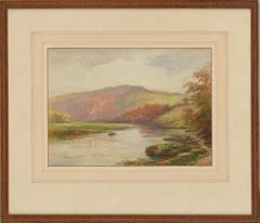 George Henry Jenkins (1843-1914) - Watercolour, River View with Boat