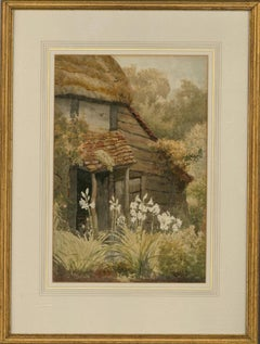 Sidney Currie (act. 1892-1930) - Watercolour, Lily Flowers by Cottage
