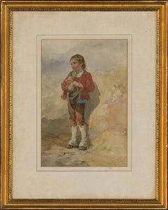 T. W. T.. - Signed & Framed 1857 Watercolour, Pyrenean Mountain Boy