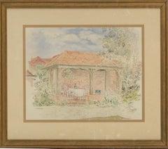 P.A. Williams - 1986 Watercolour, Garden Lunch