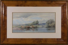 Framed 20th Century Watercolour - Cows by the Riverside
