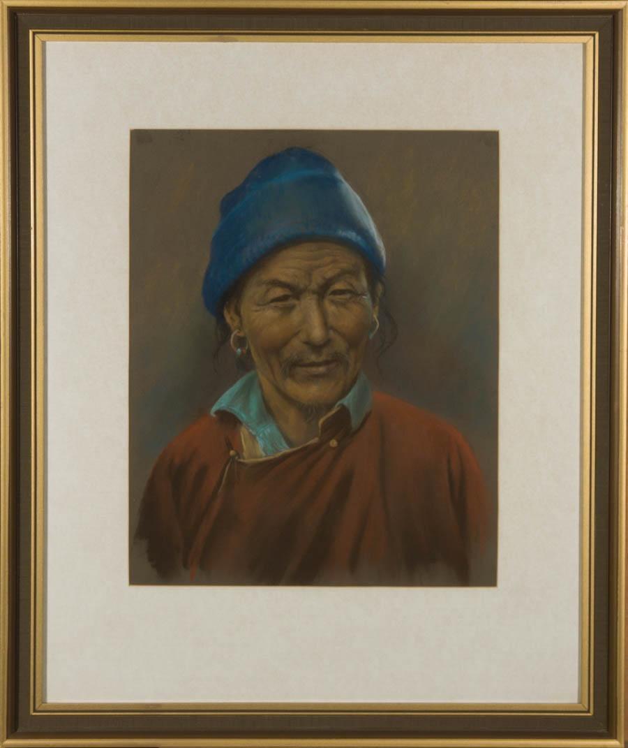 J.A. Hulbert (1900-1979) - Framed 20th Century Pastel, Man with Blue Hat