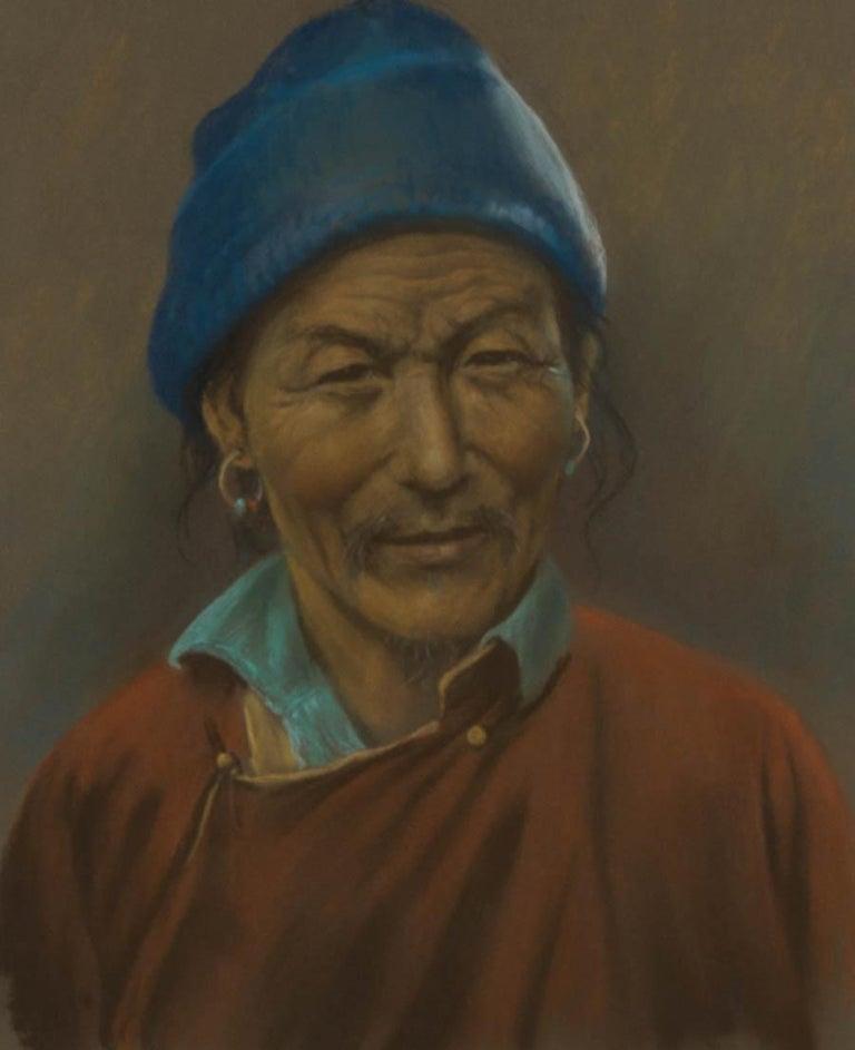 J.A. Hulbert (1900-1979) - Framed 20th Century Pastel, Man with Blue Hat - Black Portrait by J.A. Hulbert