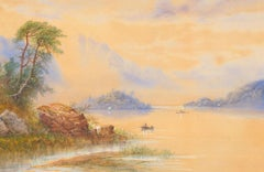 Edwin Earp (1851-1945) - Early 20th Century Watercolour, Mountain Lake Scene