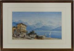 Framed Late 19th Century Watercolour - Northern Italian Lake Scene