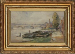 Joseph Compton Hall RBA (1863-1937) - 1916 Watercolour, City River View
