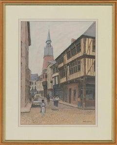 Kenneth Kernick - Framed Contemporary Watercolour, Dinard Street Scene