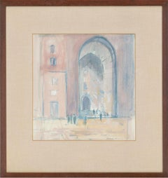 Charlotte Ardizzone RWA (b.1943) - Signed Watercolour, Figures by an Archway