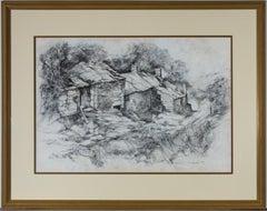 William (Bill) Taylor - Signed & Framed 1994 Graphite Drawing, Derelict Cottages