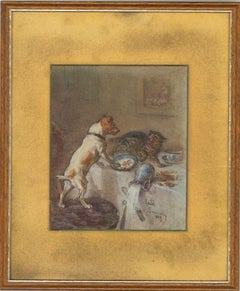 Kate Sowerby (act.1883-1900) - 1889 Watercolour, Dog and Cat Fight over Table