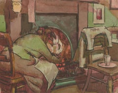 Harold Hope Read (1881-1959) - Signed 1917 Watercolour, Hilda Stoking the Fire