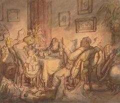 Harold Hope Read (1881-1959) -Watercolour, A Family at Tea