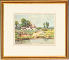 Frank Richards (1863-1935) - Signed Watercolour, Thatched Cottage in a Landscape