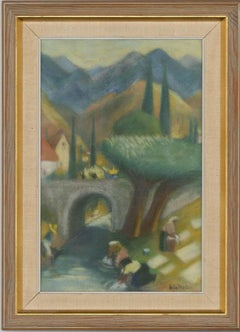 Gösta Bjelkebo (1904-1974) - Signed & Framed 20th Century Pastel, Washing Day