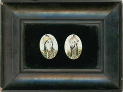 Framed 19th Indian Portrait Miniatures - The Noble Couple