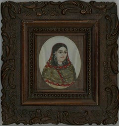 Framed 19th Indian Portrait Miniature - The Noble Woman