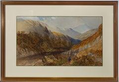 Framed 1824 Watercolour - Fisherman in a Scottish Highland Landscape