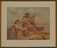19th Century Watercolour - Figures on a Beach