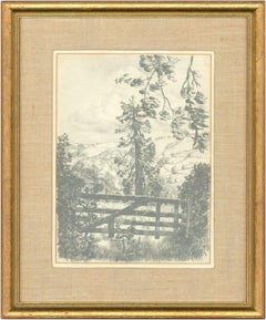 Glyn Morgan - Signed and Exhibited 1974 Graphite Drawing, Landscape near Honiton