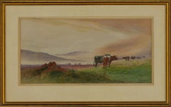 Willis Willis - Signed & Framed Mid 20th Century Watercolour, Heath With Cattle