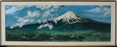 R. Hitoroto  - Signed & Framed 20th Century Gouache, Mount Fuji With Blossom