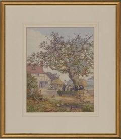 English School Framed 20th Century Watercolour - The Village Inn