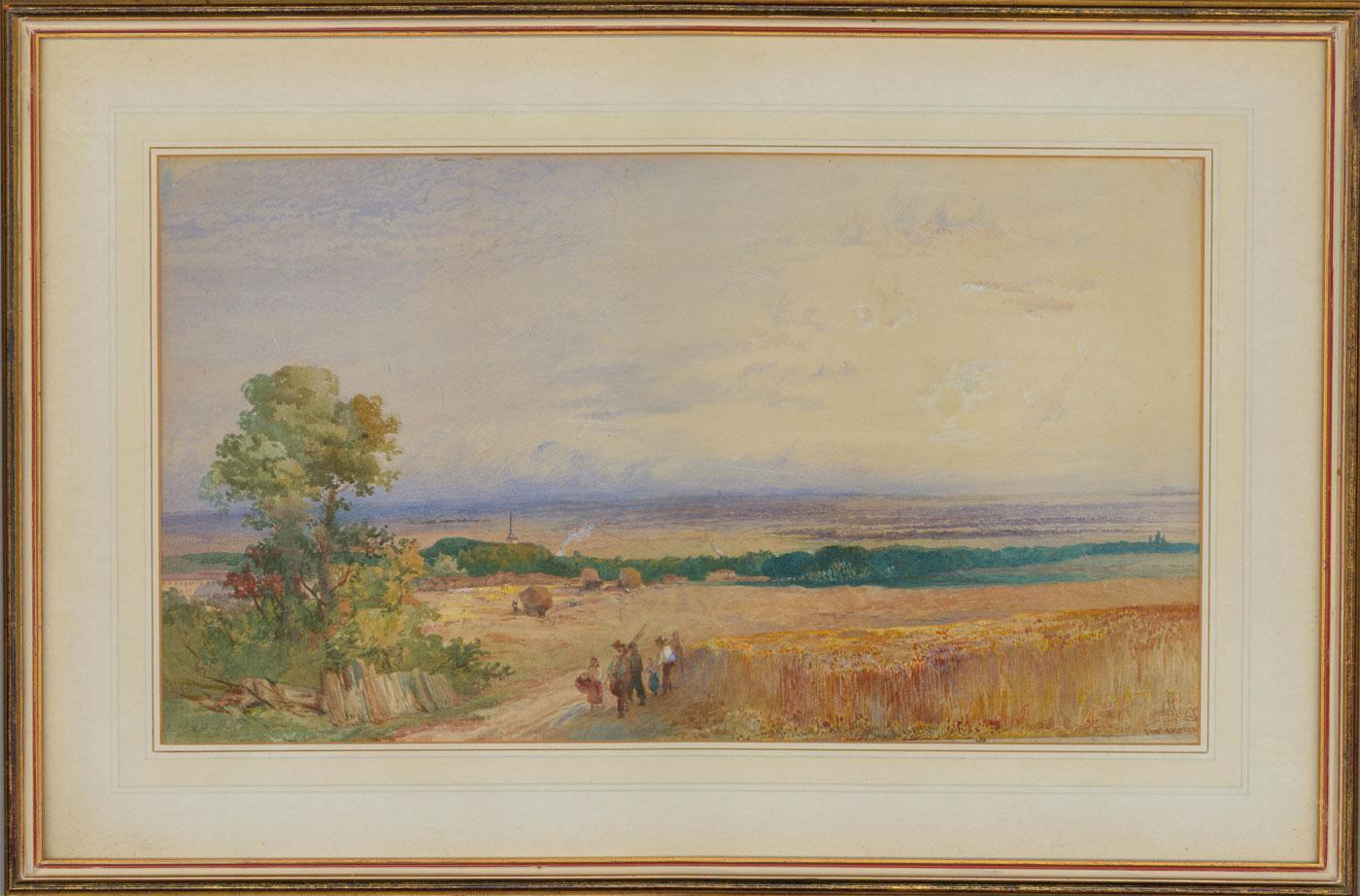 James Vivien de Fleury (1847-1902) - Framed Watercolour, Return From the Fields