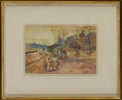 Ronald Olley (b.1923) - Framed 20th Century Watercolour, Book Stalls