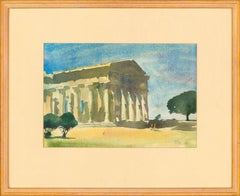 Ronald Olley (b.1923) - 1986 Watercolour, Temple of Hera, Paestum, South Italy