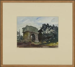 Ronald Olley (b.1923) - c. 2000 Watercolour, Arch of Titus, Rome