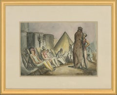 Harold Hope Read (1881-1959) - Framed Watercolour, Bathers on a Crowded Beach