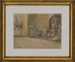 Harold Hope Read (1881-1959) - Signed & Framed 1925 Watercolour, Beach Dozing