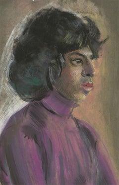 Edith Birkin (1927-2018) - 20th Century Chalk Drawing, Lady in a Purple Blouse