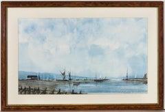 Alan Wickham - Signed & Framed 1994 Watercolour, Blue Harbour