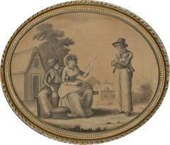 Oval English School 18th Century Watercolour - The Sailor's Lass