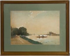 Marinus Gidding (1863-1925) - Signed & Framed Watercolour, Boating Scene