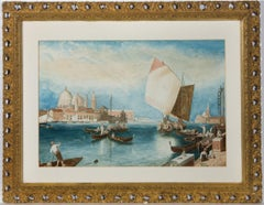 R.F. Hiddle - Ornate Framed Mid 19th Century Watercolour, Grand Canal, Venice